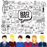 Vlakke werkende mensenavatars met bedrijfskrabbels Brainstorming, groot idee, creativiteit, groepswerkconcept Stock Foto