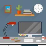 Vlakke werkruimteillustratie Royalty-vrije Stock Afbeeldingen
