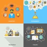 Vlakke wetenschap en onderzoek royalty-vrije illustratie