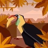 Vlakke wildernisachtergrond met gerimpeld hornbill royalty-vrije illustratie