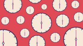 Vlakke witte horloges verschillende grootte met het bewegen van pijlen op lichtrode achtergrond royalty-vrije illustratie