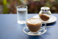 Vlakke witte koffie Royalty-vrije Stock Afbeelding