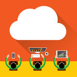 Vlakke wolk gegevensverwerkingsachtergrond Het netwerktechnologie van de gegevensopslag, Digitaal Marketing Concept, de inhoud Va Royalty-vrije Stock Fotografie