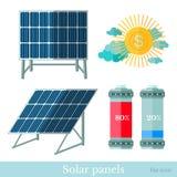 Vlakke zonnepanelenbatterij en zon Royalty-vrije Stock Afbeelding