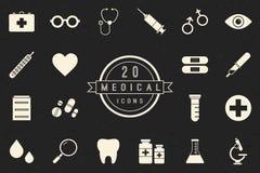 Vlakke Zwart-wit Medische Pictogrammeninzameling Stock Afbeelding