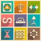 Vlakte met schaduwconcept en mobiele toepassings alchemistische symbolen royalty-vrije illustratie