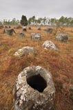 Vlakte van Kruiken in Xieng Khouang, Laos Royalty-vrije Stock Afbeeldingen