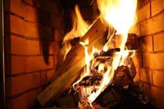 Vlam in een open haard Royalty-vrije Stock Afbeelding