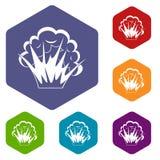 Vlam en rookpictogrammen geplaatst hexagon stock illustratie