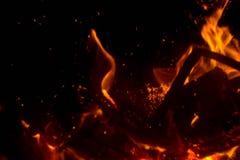 Vlam met vonken stock foto