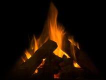 Vlam van brand in de open haard Stock Fotografie