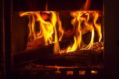 Vlam van brand in de oven, royalty-vrije stock afbeelding