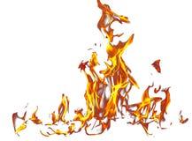 Vlam van brand die op witte achtergrond wordt geïsoleerd royalty-vrije illustratie