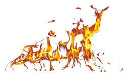 Vlam van brand die op witte achtergrond wordt geïsoleerd stock illustratie