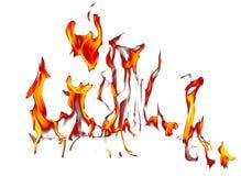 Vlam van brand die op witte achtergrond wordt geïsoleerd royalty-vrije stock afbeelding