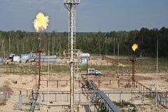 Vlam van het branden van bijproducten van brandstof. Royalty-vrije Stock Foto