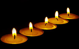 Vlam van kaarsen Stock Foto's