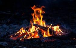 Vlam van kampvuur Stock Foto