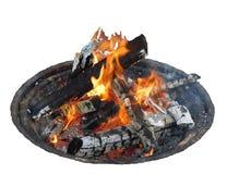 Vlambrand met Logboeken die in Brandkuil branden Stock Foto's