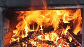 Vlammen in de oven stock footage