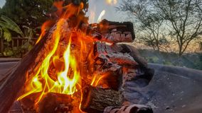 Vlammen die helder in een brandkuil branden met zonsondergang op achtergrond stock afbeelding