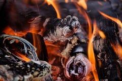 Vlammen en steenkolen Stock Fotografie