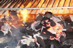 Vlammen en steenkool royalty-vrije stock foto