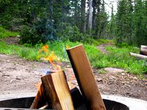 Vlammen van een Kampvuur in Kuil van een Bergkampeerterrein royalty-vrije stock afbeelding