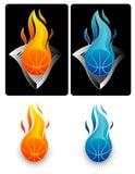 Vlammend Basketbal 2 Stock Afbeelding