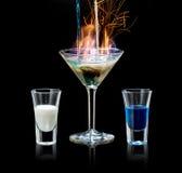 Vlammende Cocktail Stock Foto