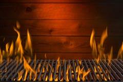 Vlammende Grillachtergrond Stock Foto