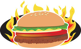 Vlammende Hamburger Stock Foto's