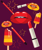 Vlammende Lippen Royalty-vrije Stock Fotografie