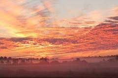 Vlammende rode zonsopgang Stock Afbeeldingen