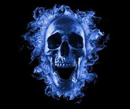 Vlammende schedel in blauwe brand vector illustratie