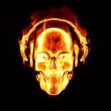 Vlammende schedel met hoofdtelefoons Stock Afbeeldingen