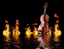 Vlammende viool stock afbeelding