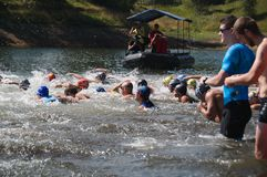 Vlasina Lake, Serbia - august,5.2018: Start of the swimming race on Vlasina triathlon. On Sunday, August 5, the 4th Triathlon Self-Recovery Triathlon was held royalty free stock photos