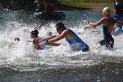 Vlasina Lake, Serbia - august,5.2018:Start of the swimming race on Vlasina triathlon. On Sunday, August 5, the 4th Triathlon Self-Recovery Triathlon was held royalty free stock photography