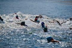 Vlasina Lake, Serbia - august,5.2018: Swimming race on Vlasina triathlon. On Sunday, August 5, the 4th Triathlon Self-Recovery Triathlon was held. The triathlon royalty free stock photos