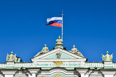 Vlasov flag under the Winter Palace in St. Petersburg, Russia Royalty Free Stock Photo