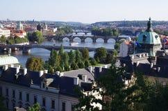 Vlatava flod i Prague Royaltyfri Fotografi