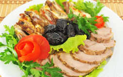 Vlees, besnoeiing in plakken. Stock Foto's