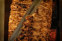 Vlees besnoeiingen voorbereide Shawarma Royalty-vrije Stock Foto's