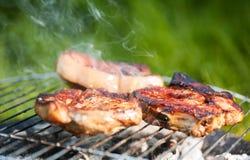 Vlees bij de grill Stock Foto's