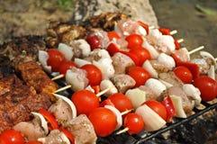 Vlees bij de grill, barbecue Stock Afbeelding