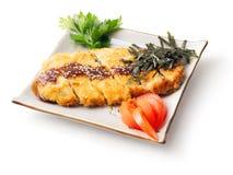 Vlees dat in beslag en beschuit, peterselie wordt gebakken? Royalty-vrije Stock Foto