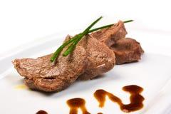 Vlees dat in boter wordt gebraden Royalty-vrije Stock Foto