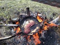 Vlees in de pan Royalty-vrije Stock Afbeeldingen