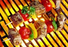 Vlees die kebabs over de steenkolen sissen stock foto's